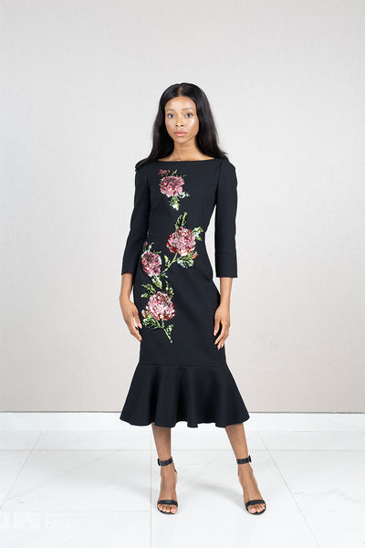 Crepe floral embelllished midi dress