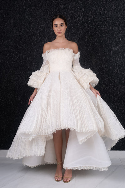 Off shoulder high-low pleated ballon sleeve lace gown