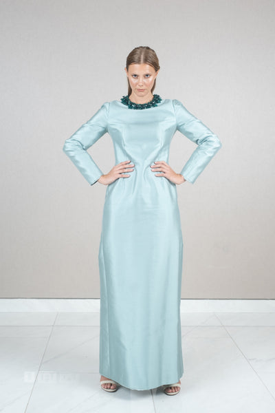 Long sleeve embellished neckline maxi dress