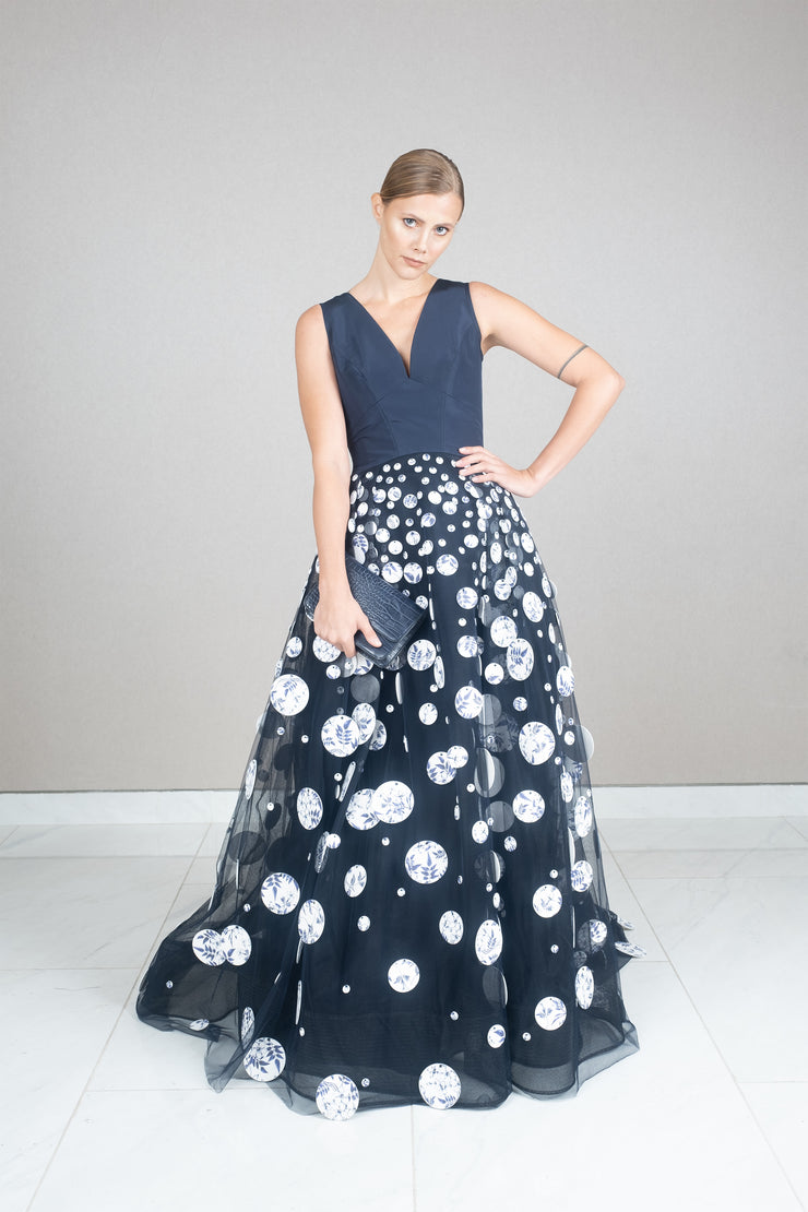 Sleeveless floral print dots tulle gown