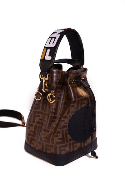 Mon Tresor FF Motif Leather Bucket Bag
