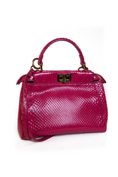 Peekaboo Mini Python Leather Handbag