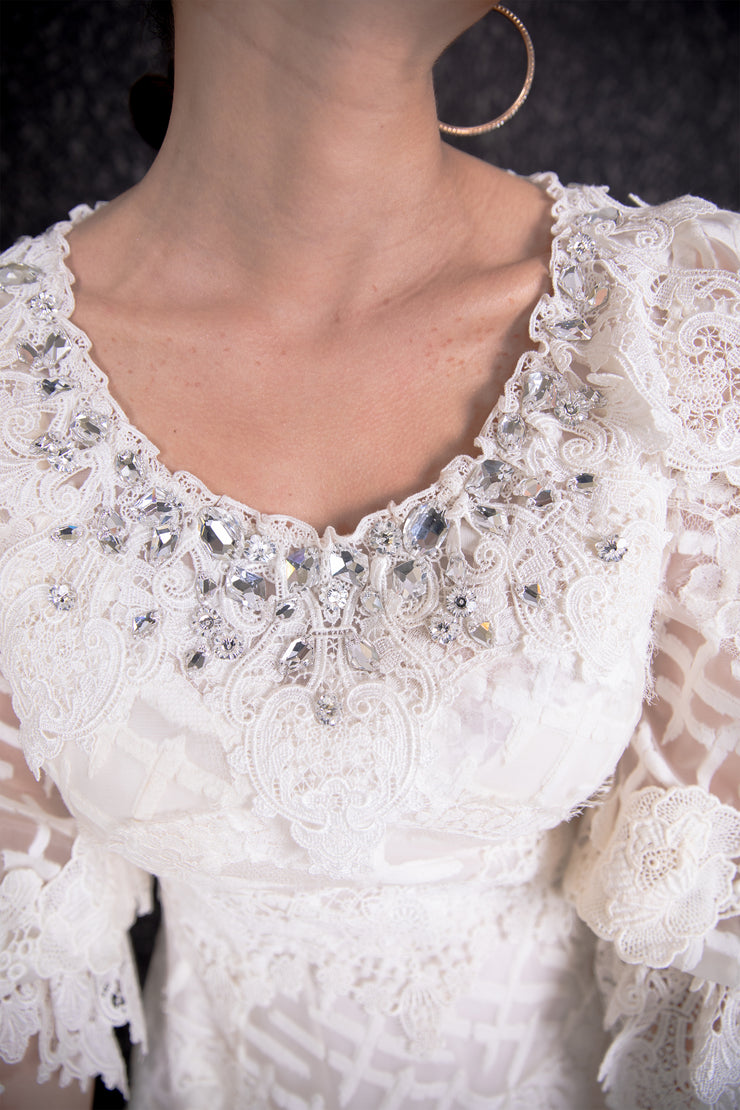 Ruffle cuff sleeve embellished neck lace dress