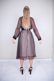 Long sleeve polka dot vintage chiffon midi dress