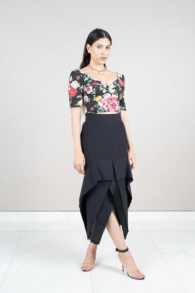 Phenomenal high- low silk skirt
