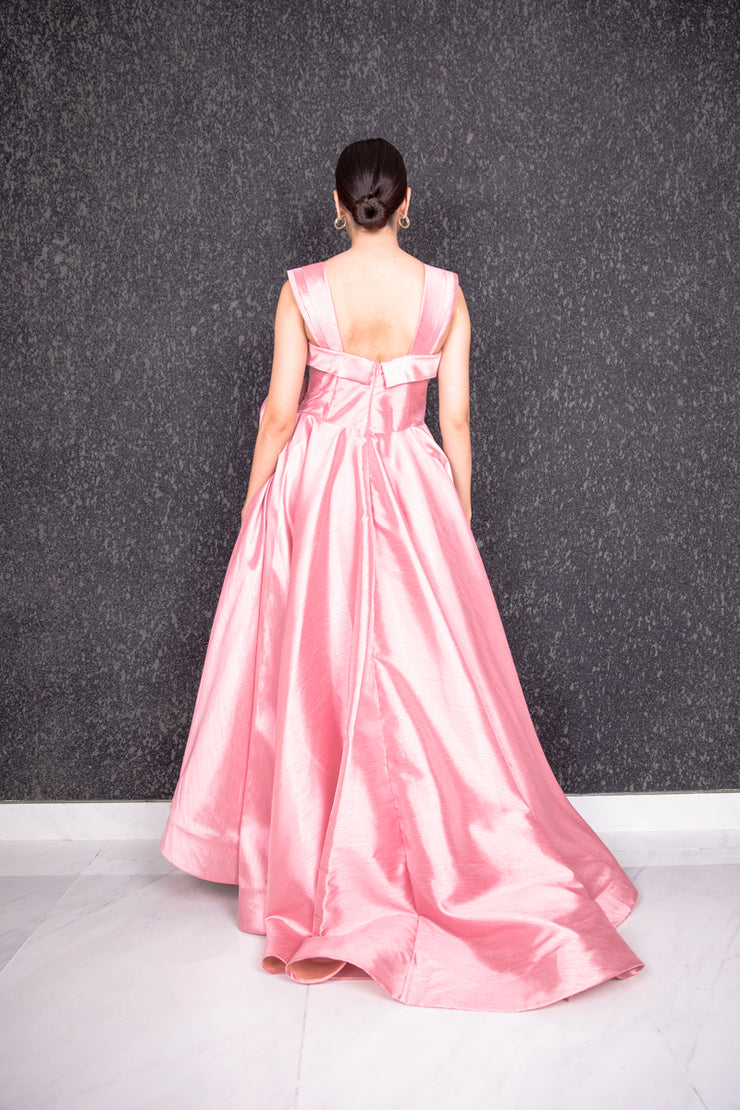 Sleeveless couture draped gown