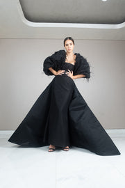 Black taffeta fitted gown with feathered robe