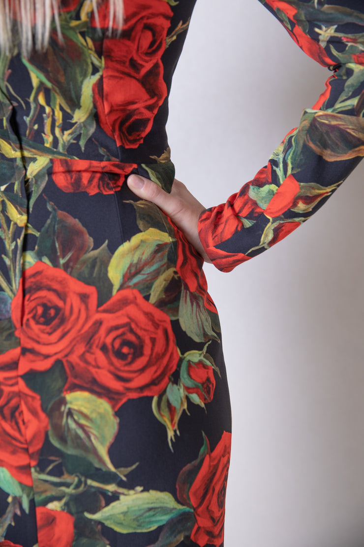 Floral printed long sleeve dress