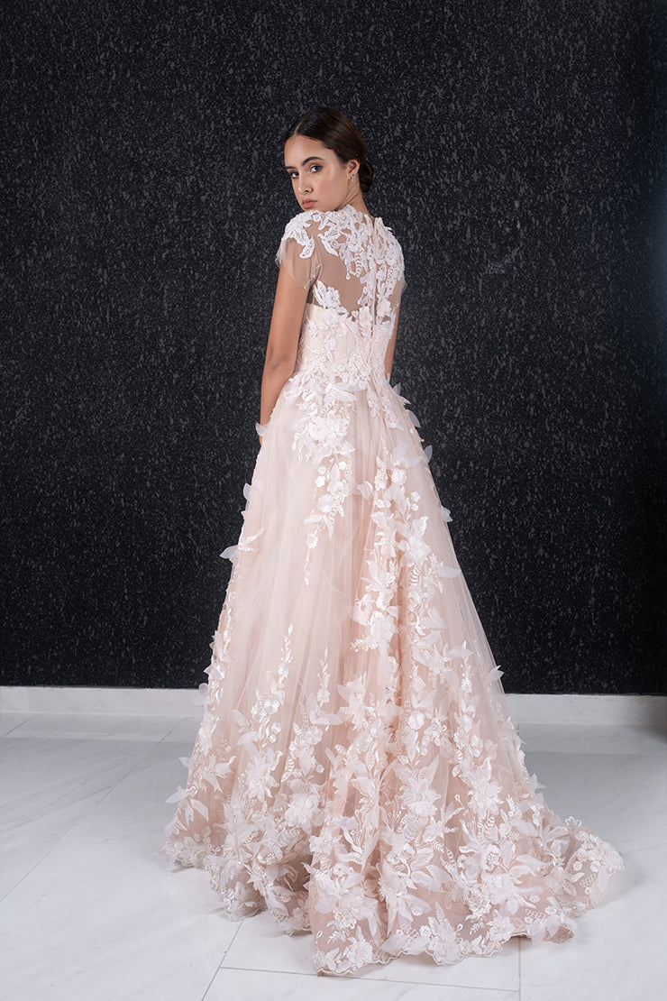 Floral applique tulle gown