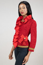 long sleeve ruffled wool fitted jacket