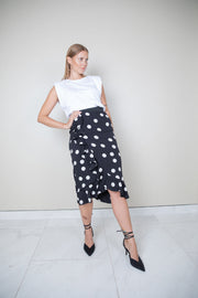 Ruffled polka-dot stretch-silk charmeuse skirt