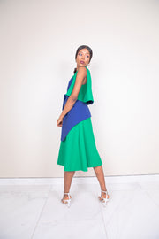 Sleeveless two tone bow tie cotton crepe midi dress