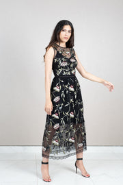 Sheer floral embroidered tulle dress
