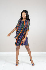 Fringe colorful short sleeve mini dress