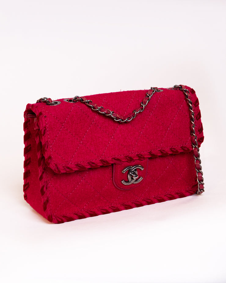 Quilted wool classic flap bag