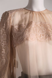 Chiffon and lace blouse