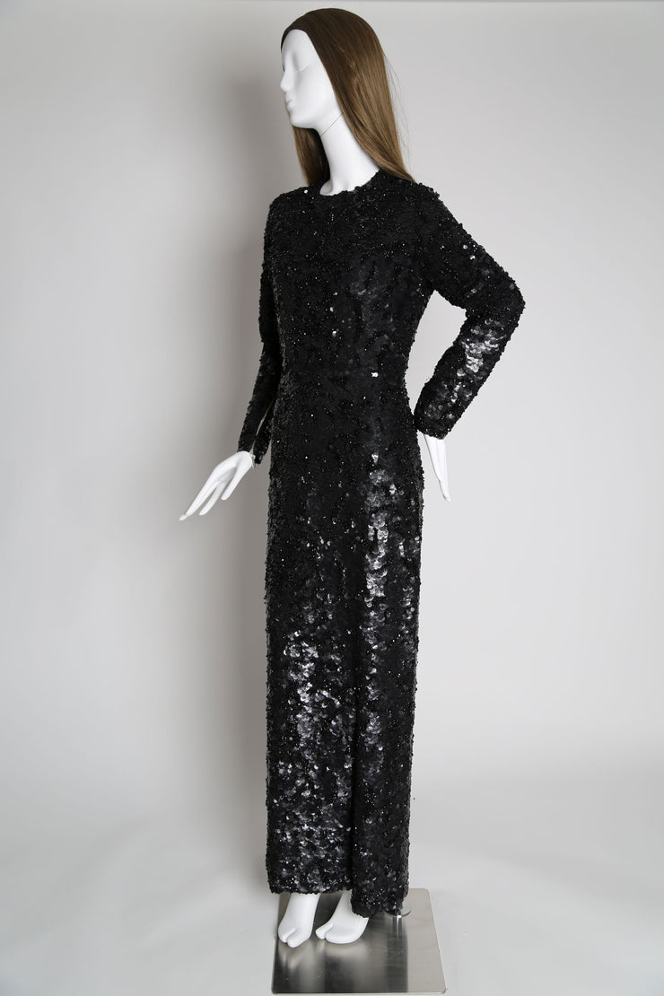 Sequin embellished long sleeve maxi dress
