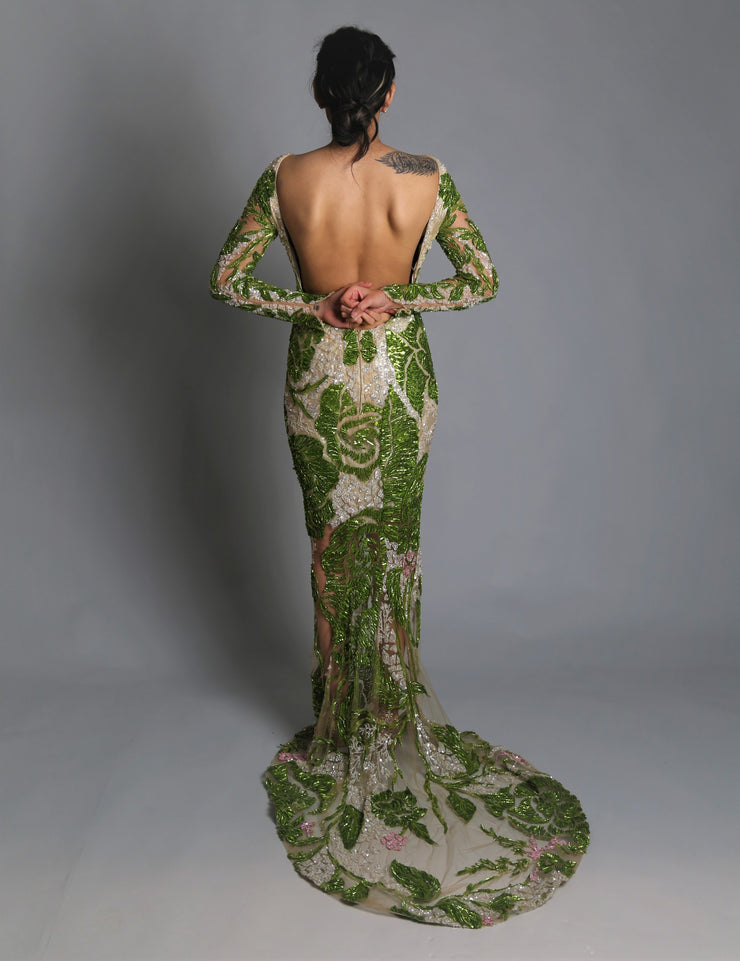 Backless floral gown