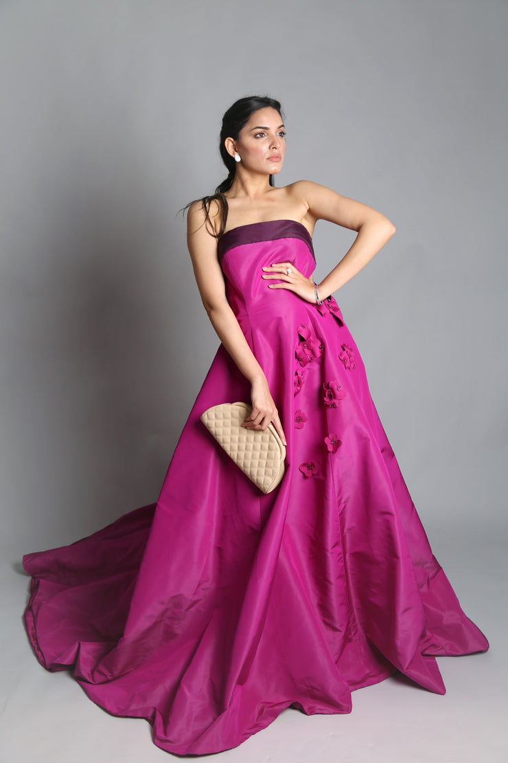 Strapless silk gown