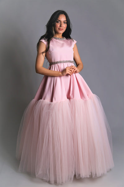 Tulle and silk flared gown