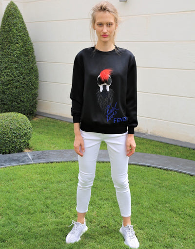 Fur embellished viscose sweatshirt