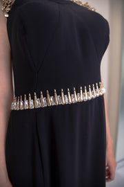Sleeveless embellished shoulder fitted maxi dress