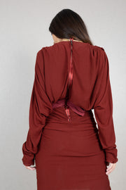 Wrap effect draped long sleeve viscose wool dress