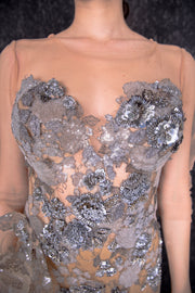 Embellished ruffled back bustier top gown