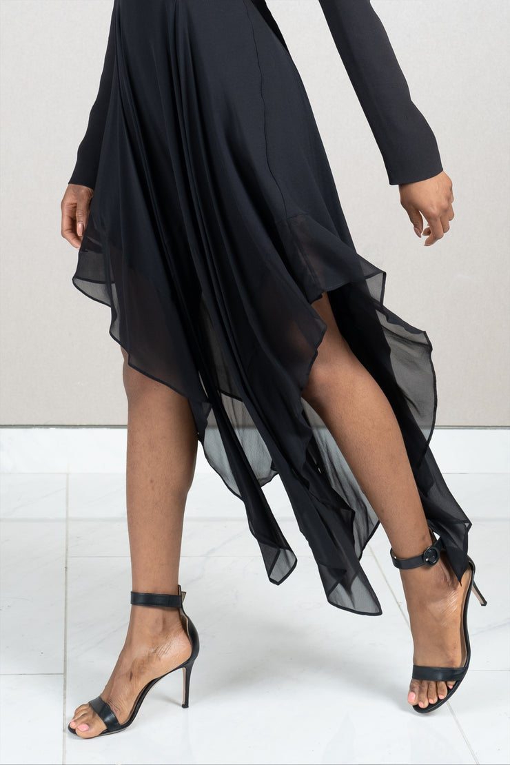 Long sleeve draped skirt dress
