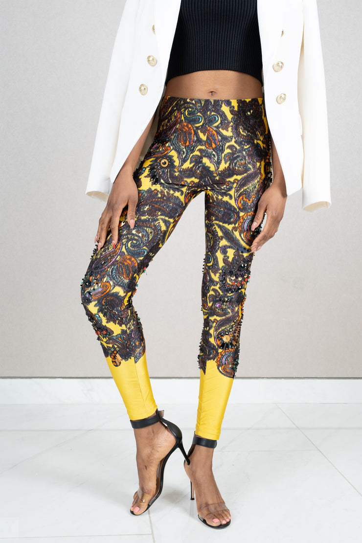 Embellished printed leggings