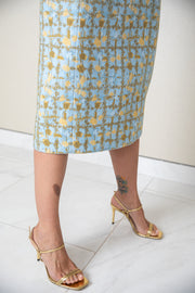 Christian Dior wool high-waisted skirt embellished with gold threads