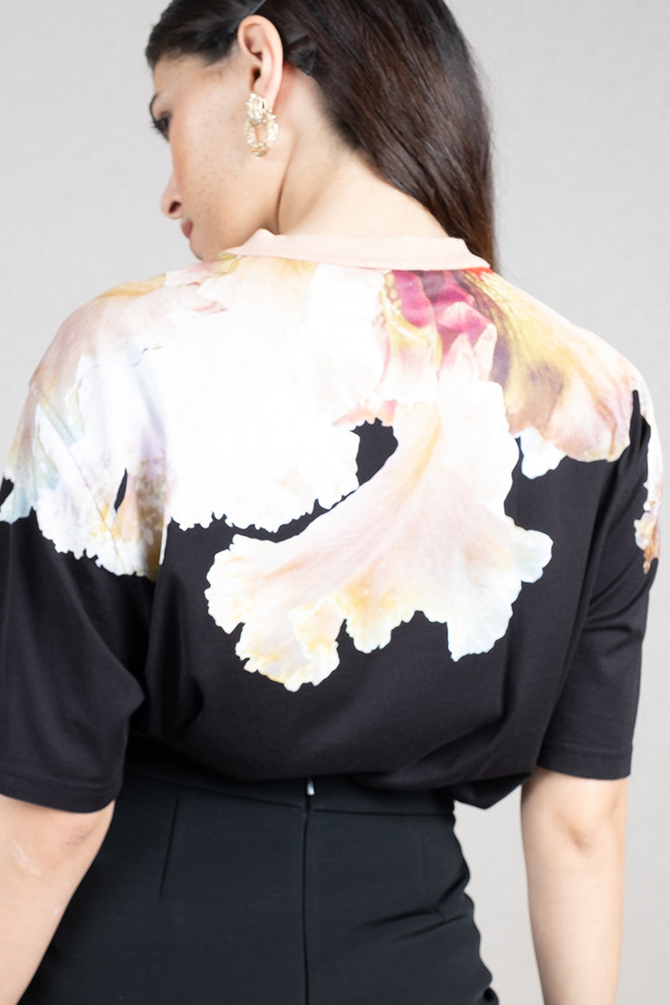 Orchid print cotton t-shirt