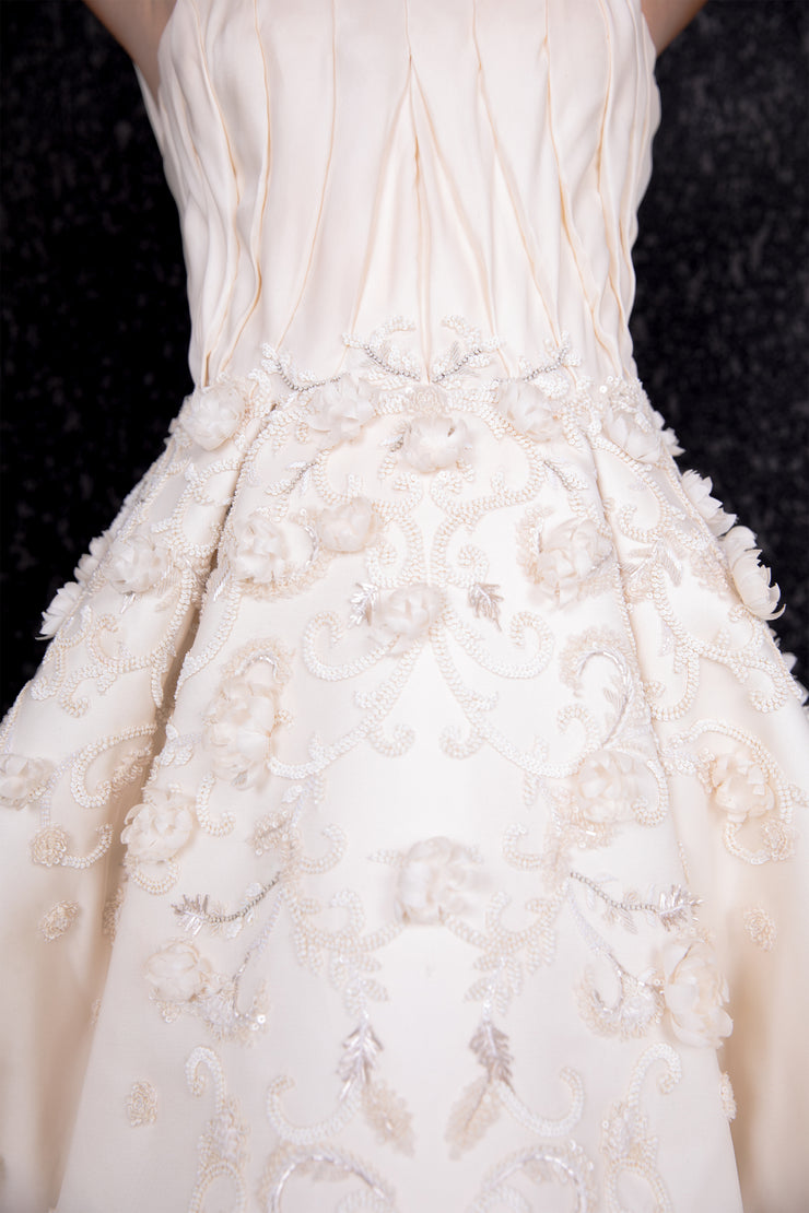 3D floral embroidery off shoulders long ball gown