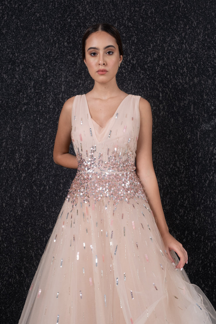 Sleeveless sequin embroided tulle gown