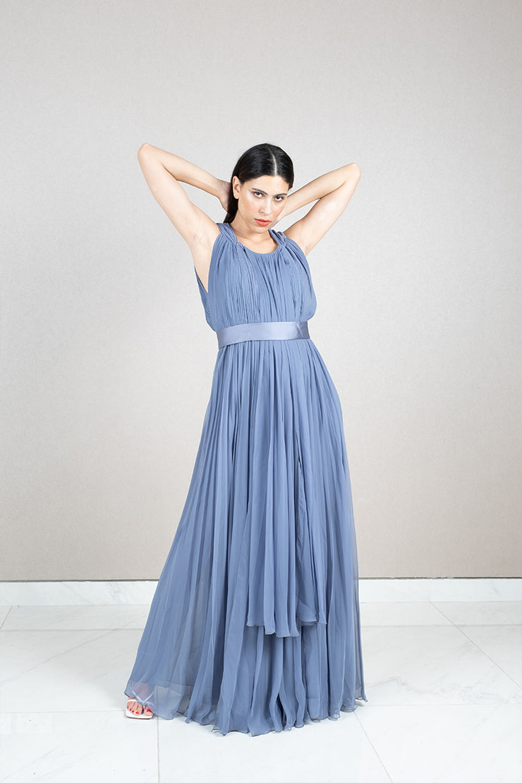 Pleated acetate silk belted maxi dress