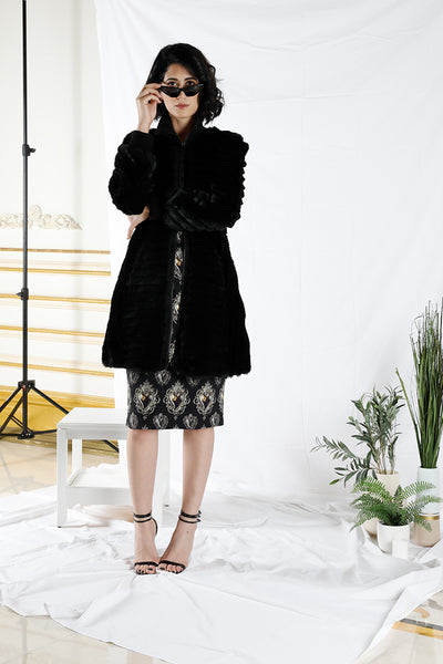 Zipper Ribbed Rabbit Fur Coat