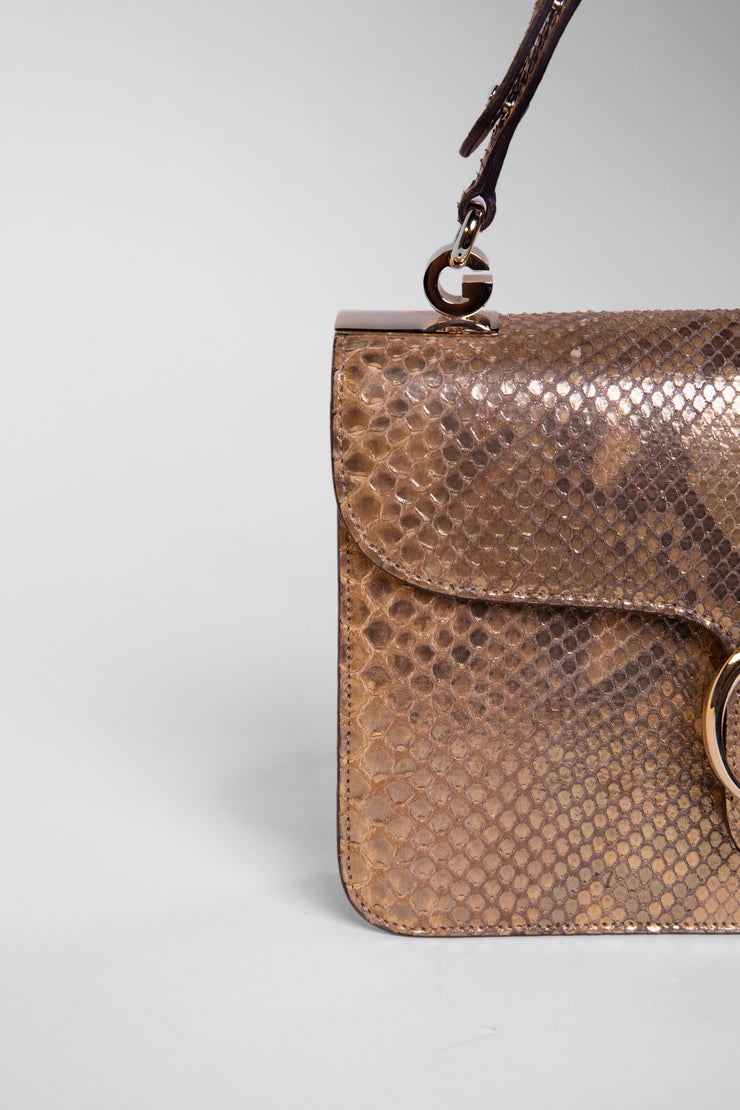 1973 Flap Python Shoulder Bag