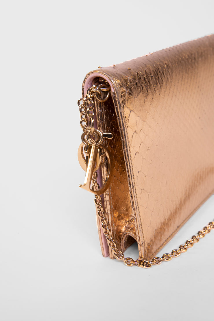 Python leather clutch
