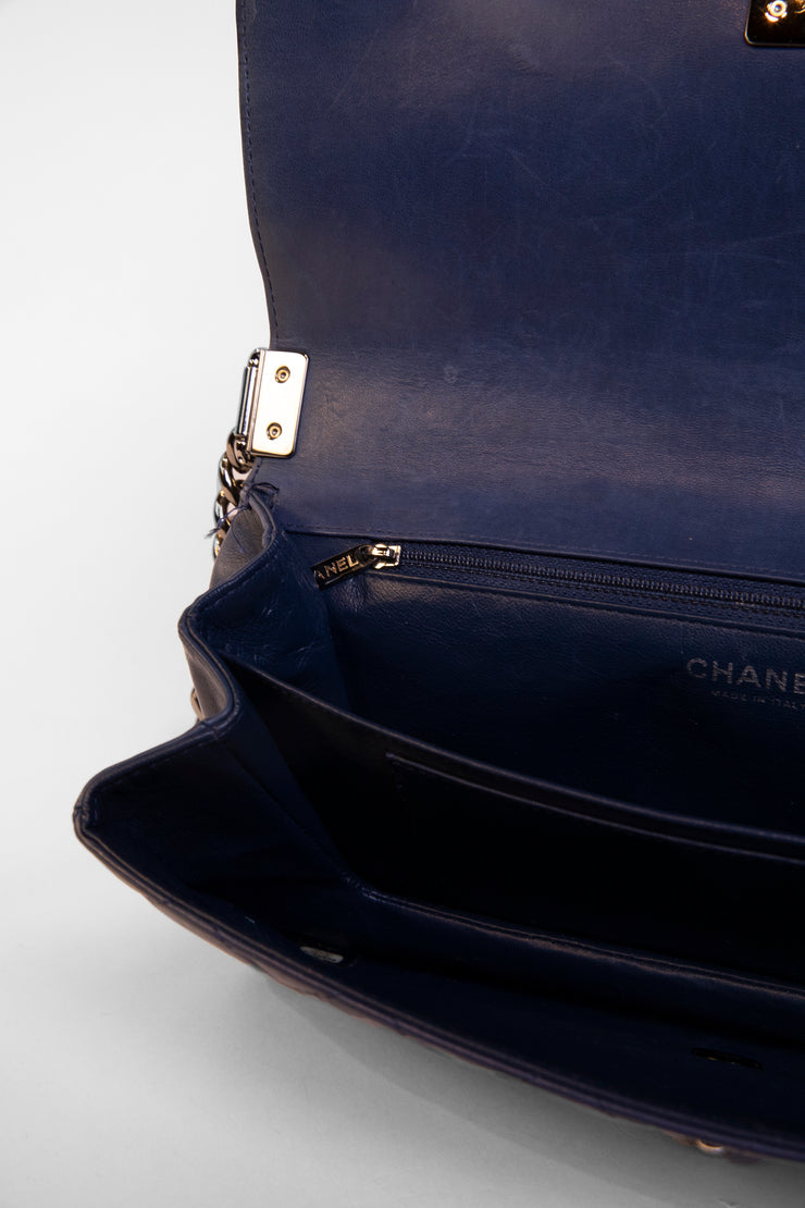 Blue Aged Calfskin Shoulder Bag