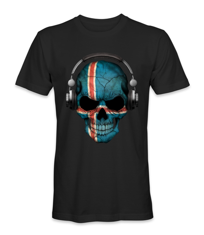 Iceland country flag on a skull t-shirt