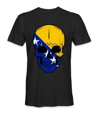 Bosnia and Herzegovina country flag on a skull t-shirt