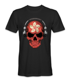 Hong Kong country flag on a skull t-shirt
