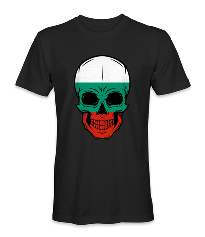 Bulgaria country flag on a skull t-shirt