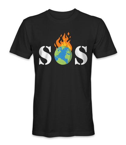 SOS on global warming, we're on fire t-shirt