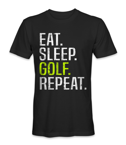 Eat, sleep, golf, and repeat t-shirt