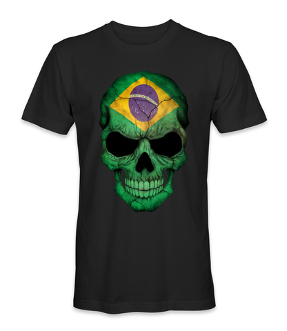 Brazil country flag on a skull t-shirt