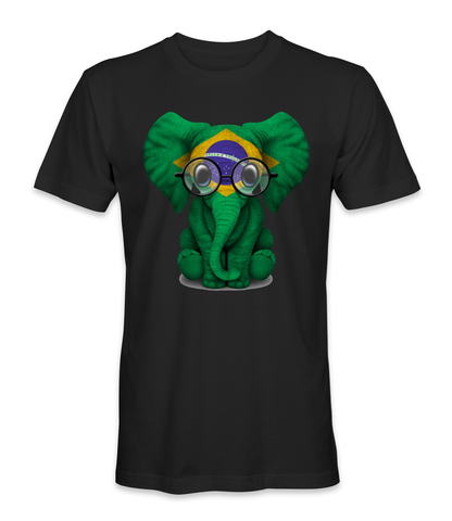 Brazil country flag on an elephant t-shirt
