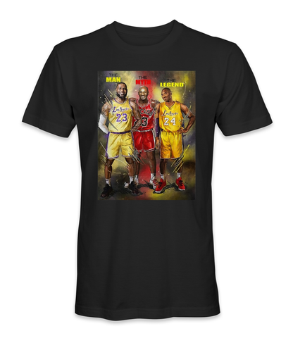 Michael Jordan, Kobe Bryant, and Lebron James basketball legends t-shirt