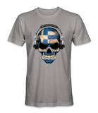 Greece country flag on a skull t-shirt