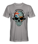 Fiji country flag on a skull t-shirt
